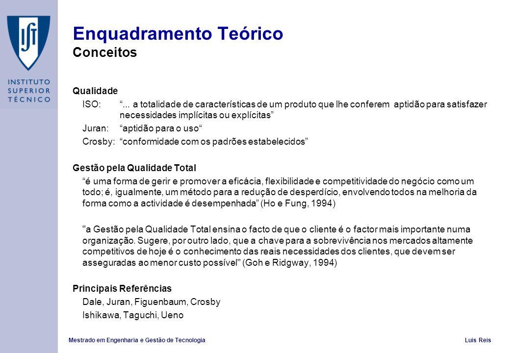 Mestrado em Engenharia e Gestão de TecnologiaLuis Reis Enquadramento Teórico Conceitos Qualidade ISO:... a totalidade de características de um produto