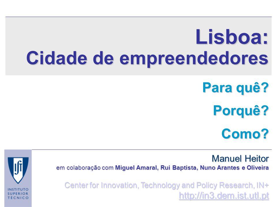 Lisboa: Cidade de empreendedores Para quê? Porquê?Como? Manuel Heitor em colaboração com Miguel Amaral, Rui Baptista, Nuno Arantes e Oliveira Center f