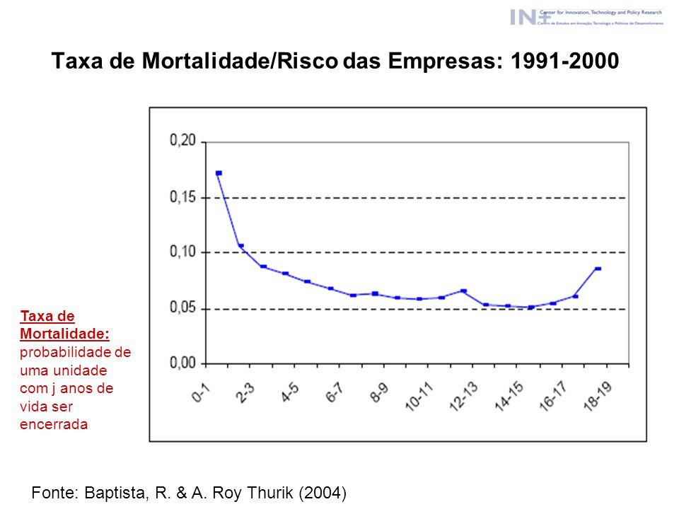 Taxa de Mortalidade/Risco das Empresas: 1991-2000 Taxa de Mortalidade: probabilidade de uma unidade com j anos de vida ser encerrada Fonte: Baptista,