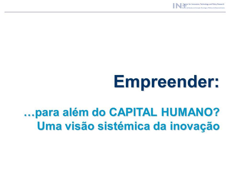 Empreender: …para além do CAPITAL HUMANO? Uma visão sistémica da inovação