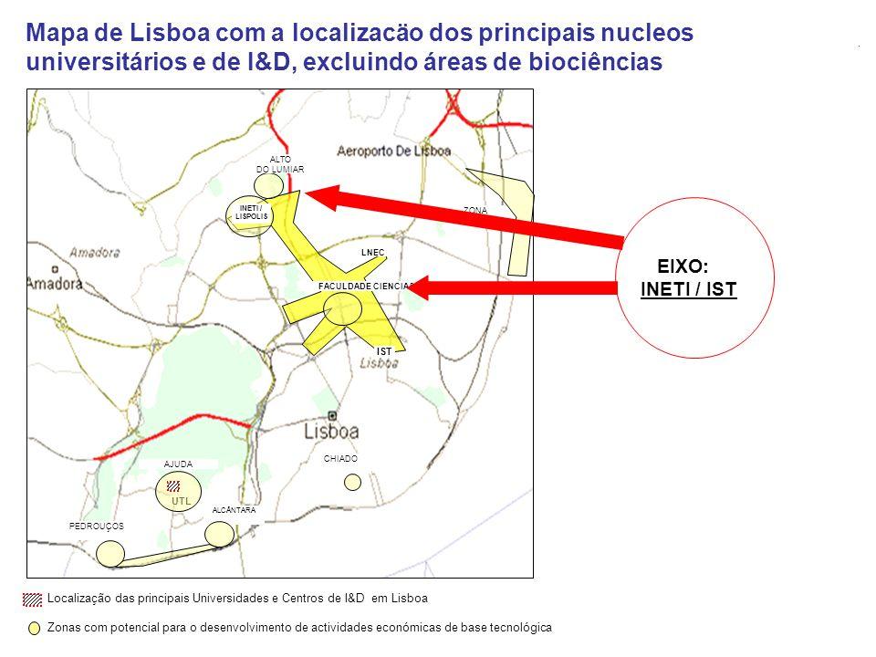 Localização das principais Universidades e Centros de I&D em Lisboa Zonas com potencial para o desenvolvimento de actividades económicas de base tecno