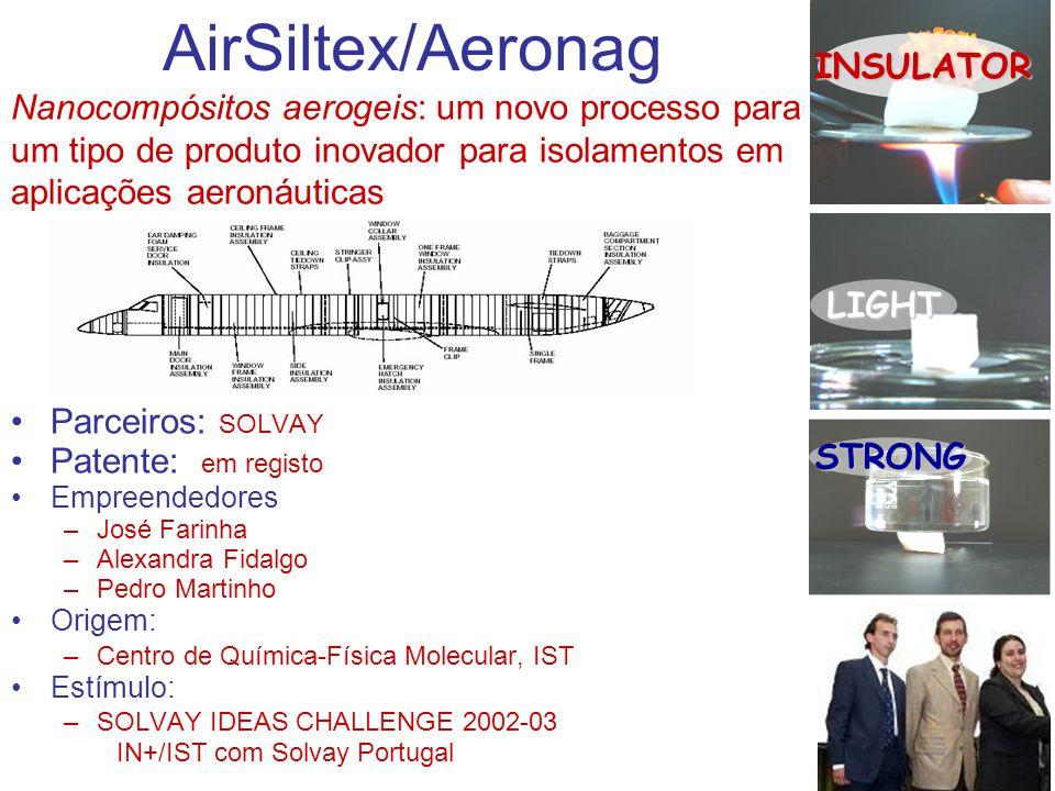 AirSiltex/Aeronag Parceiros: SOLVAY Patente: em registo Empreendedores –José Farinha –Alexandra Fidalgo –Pedro Martinho Origem: –Centro de Química-Fís