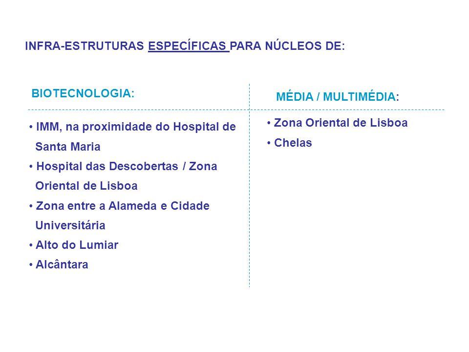 INFRA-ESTRUTURAS ESPECÍFICAS PARA NÚCLEOS DE: IMM, na proximidade do Hospital de Santa Maria Hospital das Descobertas / Zona Oriental de Lisboa Zona e