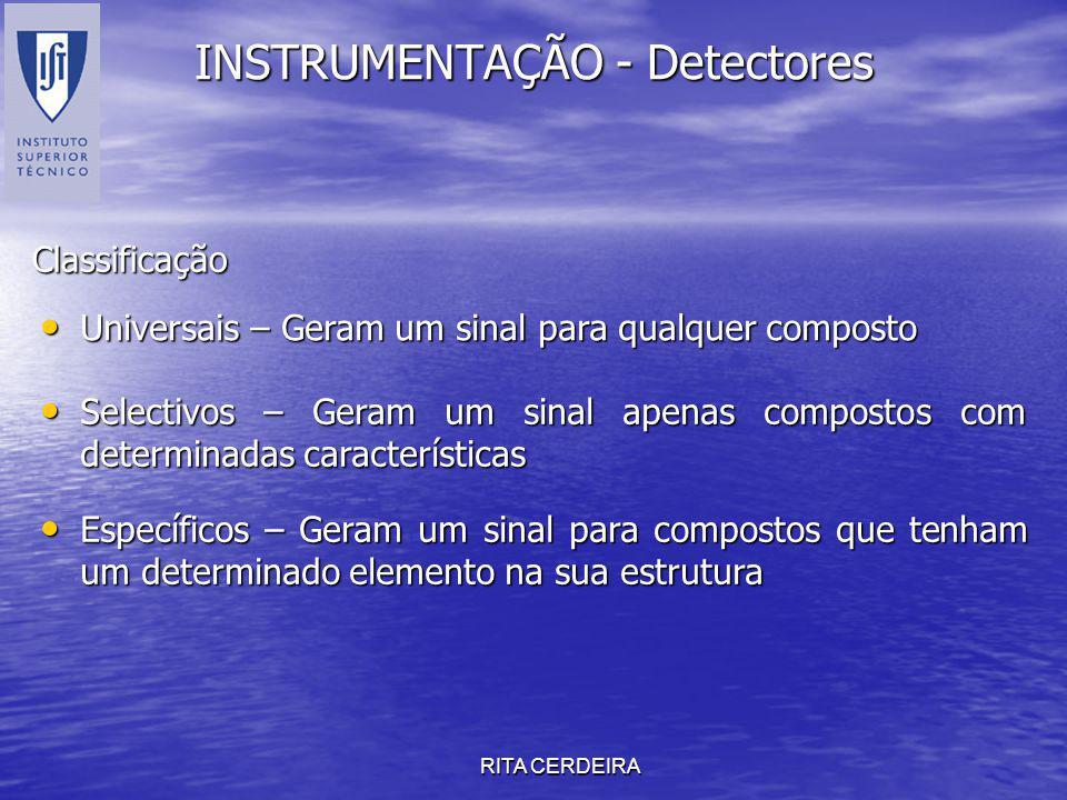 RITA CERDEIRA INSTRUMENTAÇÃO - Detectores Universais – Geram um sinal para qualquer composto Universais – Geram um sinal para qualquer composto Classi