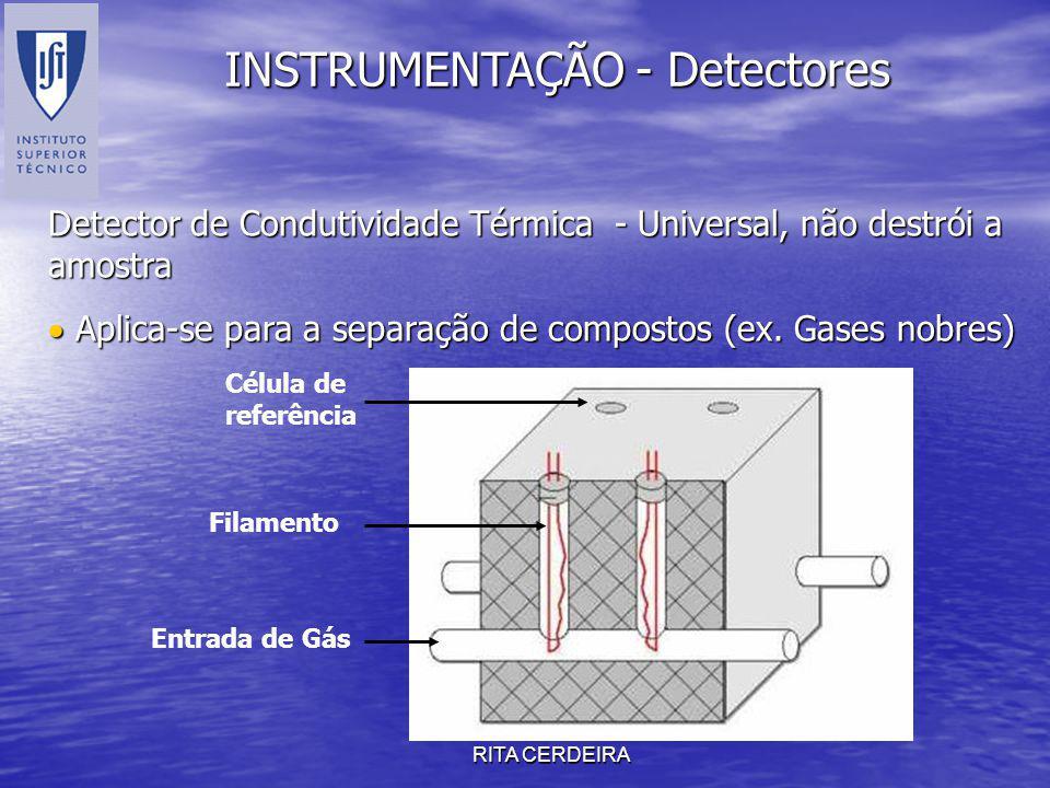 RITA CERDEIRA INSTRUMENTAÇÃO - Detectores Detector de Condutividade Térmica - Universal, não destrói a amostra Aplica-se para a separação de compostos