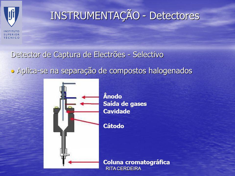 RITA CERDEIRA INSTRUMENTAÇÃO - Detectores Detector de Captura de Electrões - Selectivo Aplica-se na separação de compostos halogenados Aplica-se na se