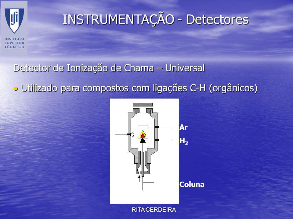 RITA CERDEIRA INSTRUMENTAÇÃO - Detectores Detector de Ionização de Chama – Universal Utilizado para compostos com ligações C-H (orgânicos) Utilizado p