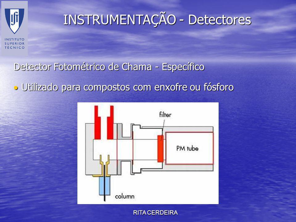 RITA CERDEIRA INSTRUMENTAÇÃO - Detectores Detector Fotométrico de Chama - Específico Utilizado para compostos com enxofre ou fósforo Utilizado para co