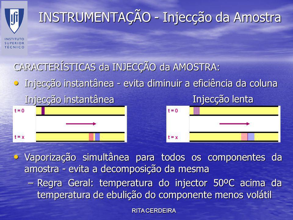 RITA CERDEIRA INSTRUMENTAÇÃO - Injecção da Amostra Injecção instantânea - evita diminuir a eficiência da coluna Injecção instantânea - evita diminuir
