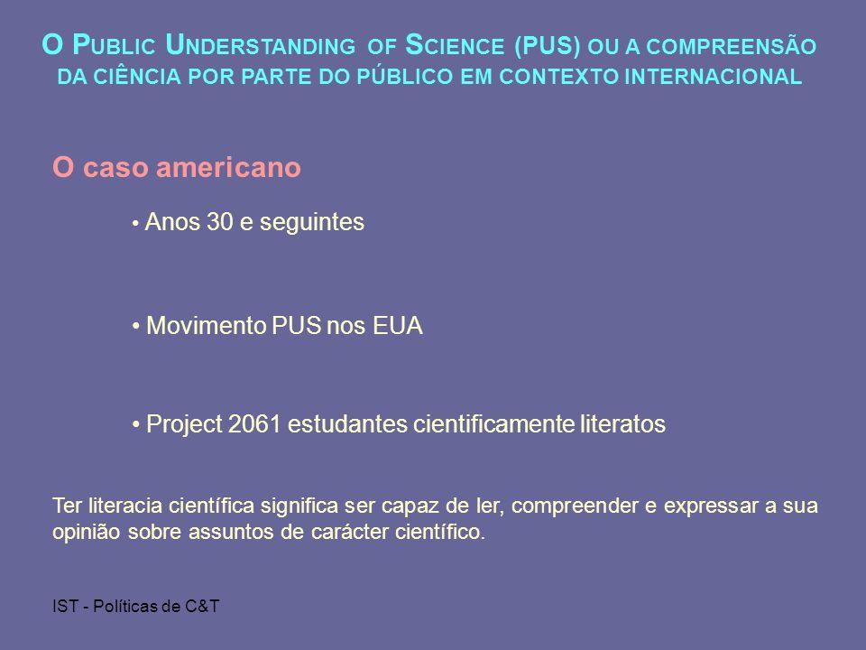 IST - Políticas de C&T O P UBLIC U NDERSTANDING OF S CIENCE (PUS) OU A COMPREENSÃO DA CIÊNCIA POR PARTE DO PÚBLICO EM CONTEXTO INTERNACIONAL O caso americano Anos 30 e seguintes Movimento PUS nos EUA Project 2061 estudantes cientificamente literatos Ter literacia científica significa ser capaz de ler, compreender e expressar a sua opinião sobre assuntos de carácter científico.