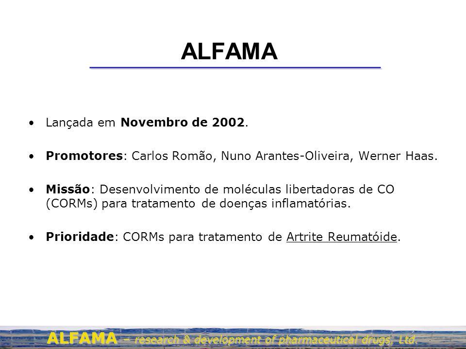 ALFAMA Lançada em Novembro de 2002. Promotores: Carlos Romão, Nuno Arantes-Oliveira, Werner Haas. Missão: Desenvolvimento de moléculas libertadoras de