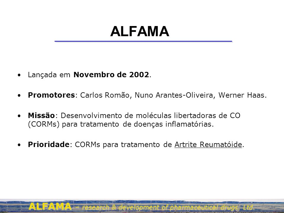 CO e CORMs ALFAMA – research & development of pharmaceutical drugs, Ltd.
