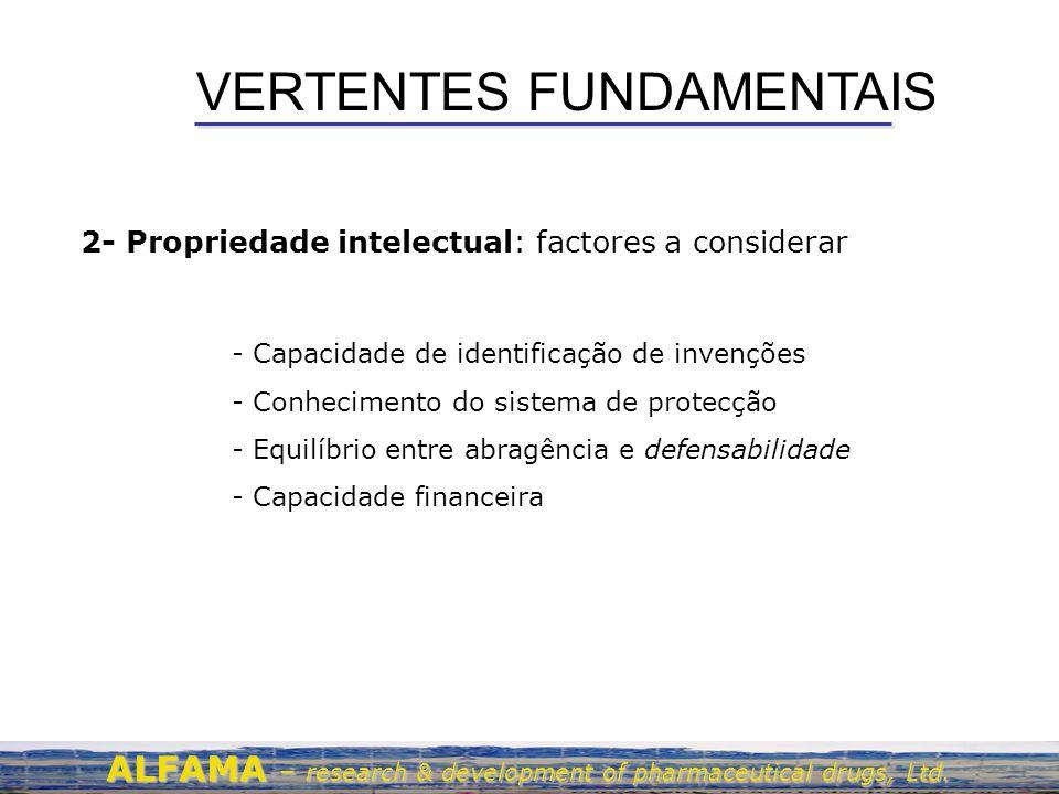 VERTENTES FUNDAMENTAIS 2- Propriedade intelectual: factores a considerar ALFAMA – research & development of pharmaceutical drugs, Ltd. - Capacidade de