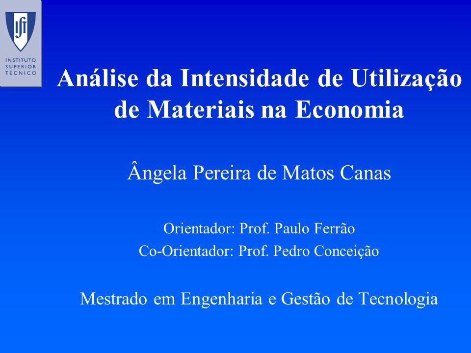Análise da Intensidade de Utilização de Materiais na Economia Ângela Pereira de Matos Canas Orientador: Prof.