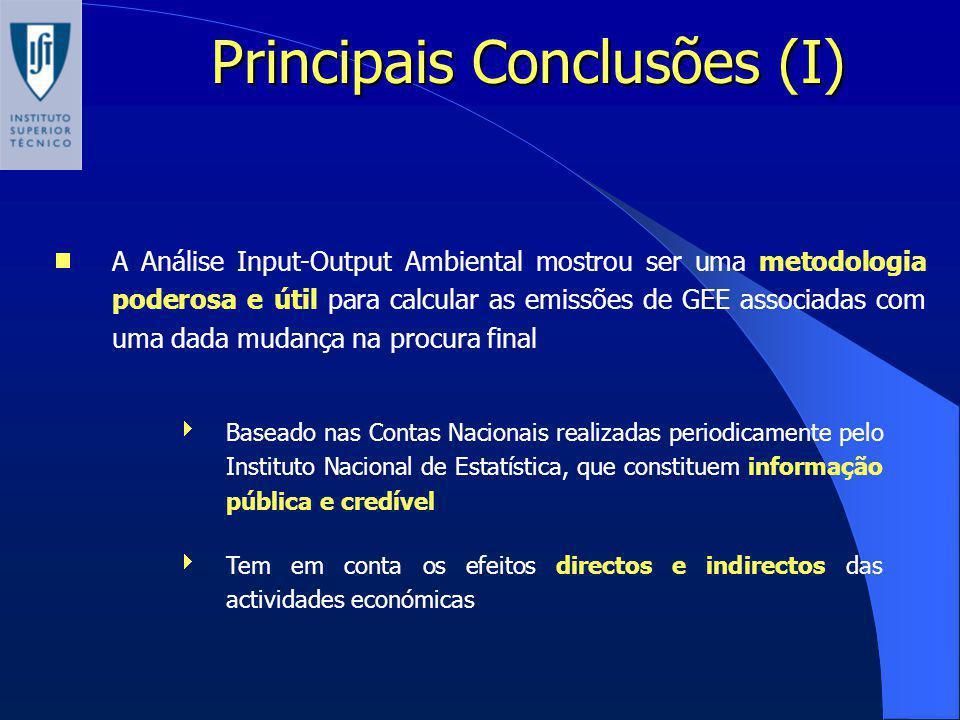 Principais Conclusões (I) A Análise Input-Output Ambiental mostrou ser uma metodologia poderosa e útil para calcular as emissões de GEE associadas com