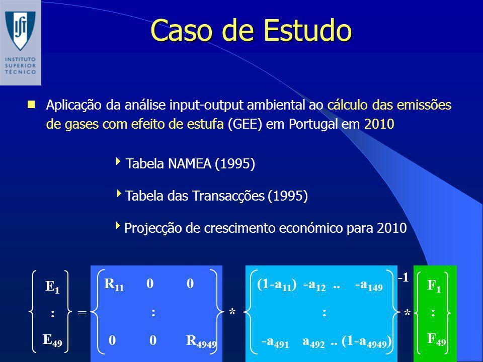 Caso de Estudo Aplicação da análise input-output ambiental ao cálculo das emissões de gases com efeito de estufa (GEE) em Portugal em 2010 Tabela NAME