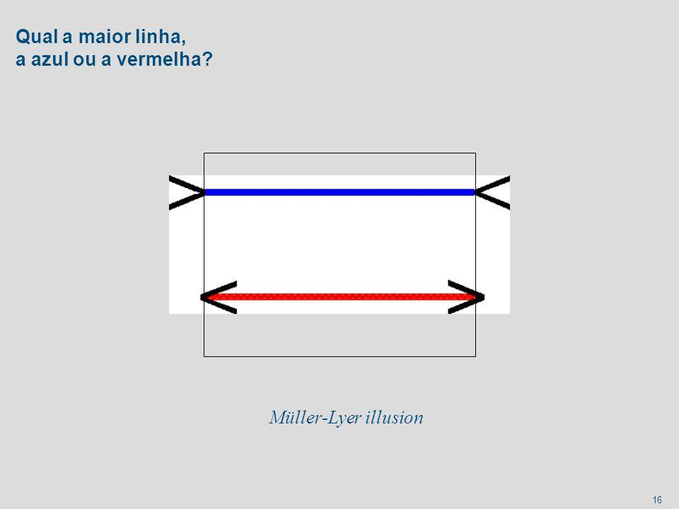16 Qual a maior linha, a azul ou a vermelha? Müller-Lyer illusion