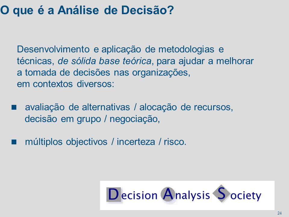 24 O que é a Análise de Decisão? Desenvolvimento e aplicação de metodologias e técnicas, de sólida base teórica, para ajudar a melhorar a tomada de de