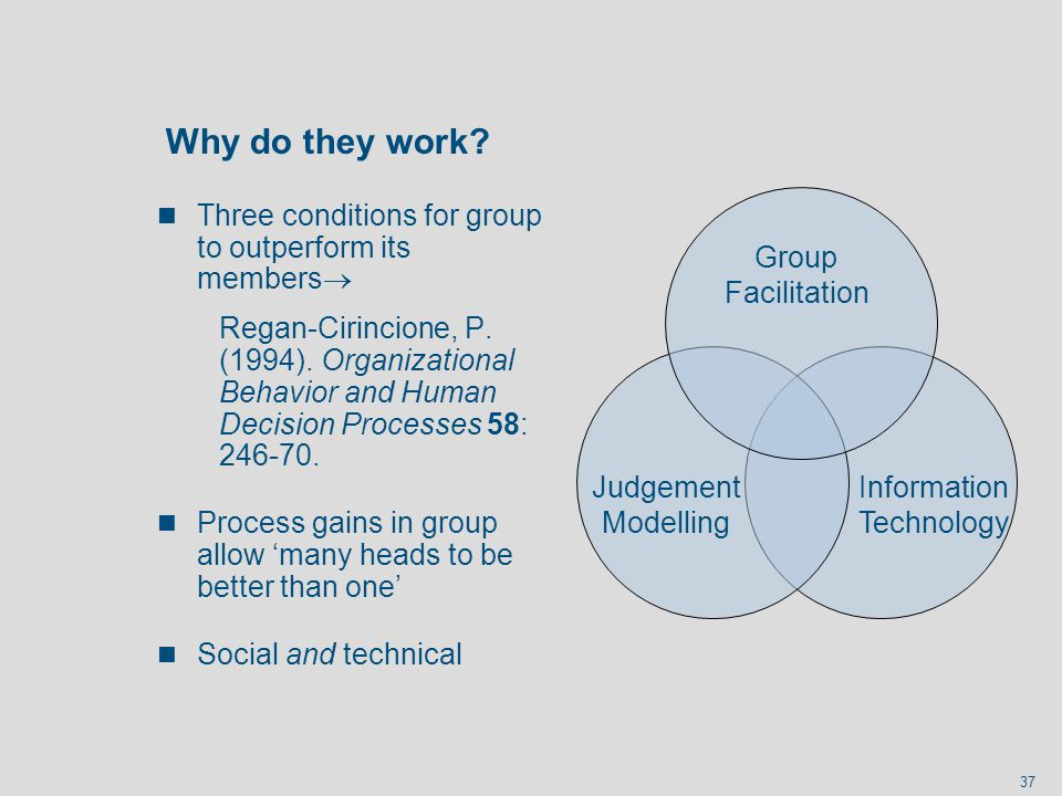 37 Why do they work? n Three conditions for group to outperform its members Regan-Cirincione, P. (1994). Organizational Behavior and Human Decision Pr