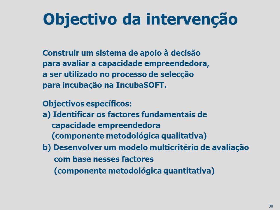 38 Objectivo da intervenção Construir um sistema de apoio à decisão para avaliar a capacidade empreendedora, a ser utilizado no processo de selecção p
