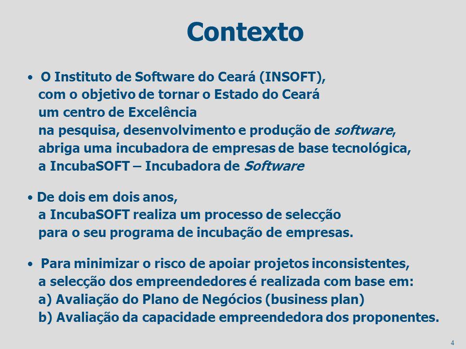 4 Contexto O Instituto de Software do Ceará (INSOFT), com o objetivo de tornar o Estado do Ceará um centro de Excelência na pesquisa, desenvolvimento