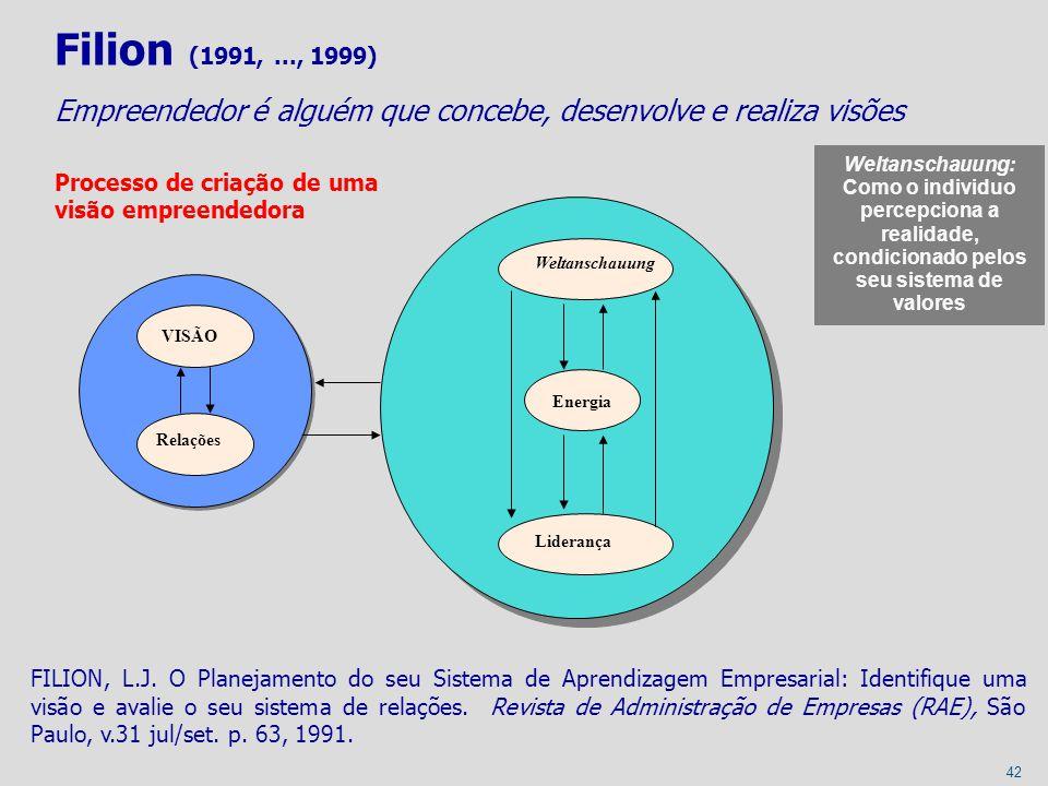 42 Filion (1991,..., 1999) Empreendedor é alguém que concebe, desenvolve e realiza visões Processo de criação de uma visão empreendedora VISÃO Relaçõe