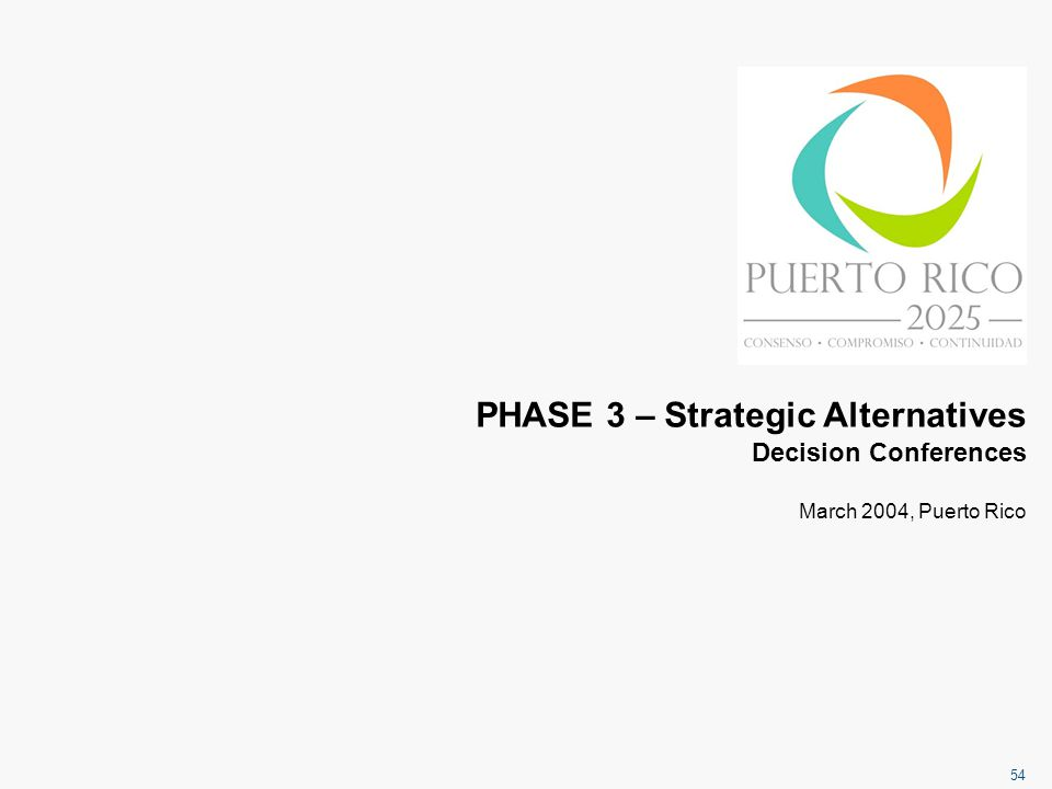 54 PHASE 3 – Strategic Alternatives Decision Conferences March 2004, Puerto Rico