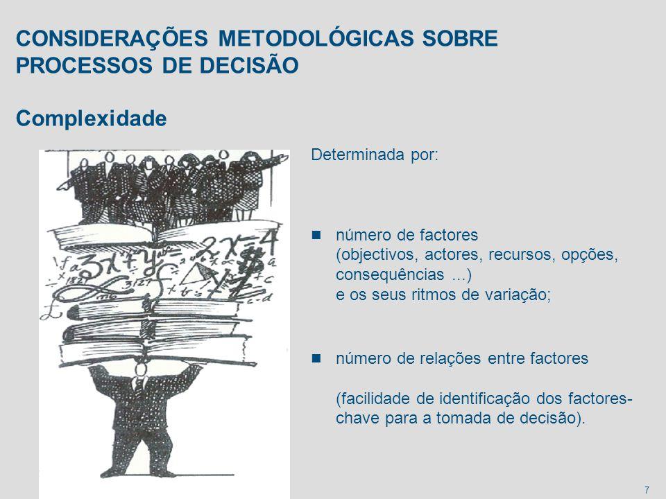 7 CONSIDERAÇÕES METODOLÓGICAS SOBRE PROCESSOS DE DECISÃO Complexidade Determinada por: n número de factores (objectivos, actores, recursos, opções, co