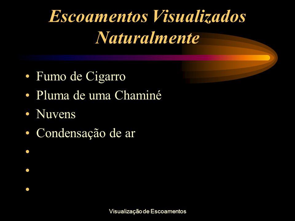 Visualização de Escoamentos Escoamentos Visualizados Naturalmente Fumo de Cigarro Pluma de uma Chaminé Nuvens Condensação de ar