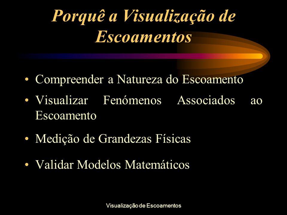 Visualização de Escoamentos Porquê a Visualização de Escoamentos Compreender a Natureza do Escoamento Visualizar Fenómenos Associados ao Escoamento Me
