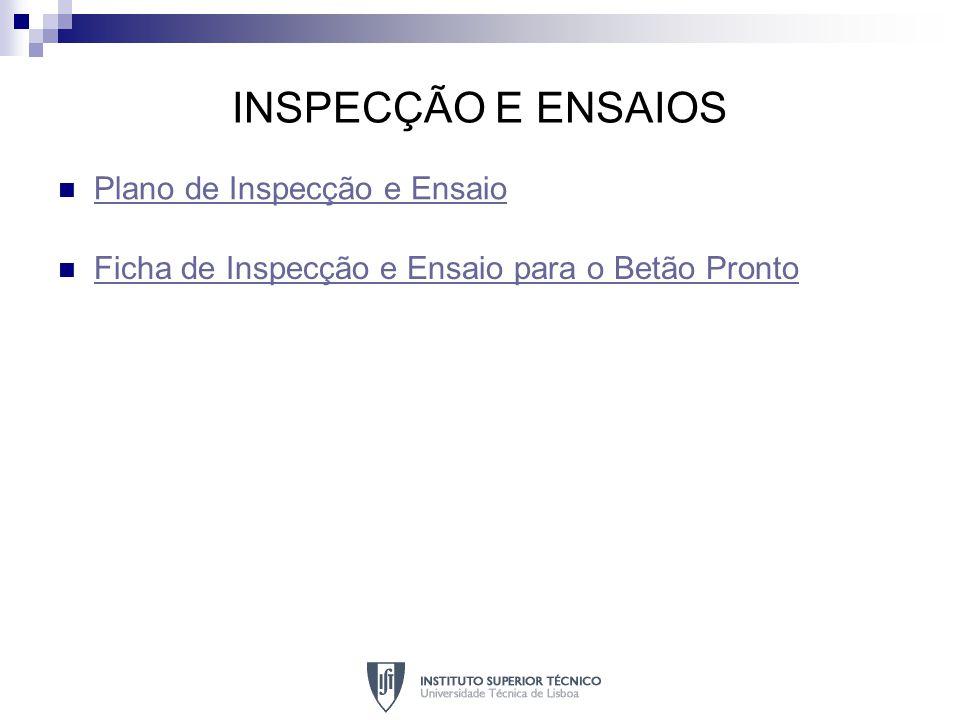 INSPECÇÃO E ENSAIOS Plano de Inspecção e Ensaio Ficha de Inspecção e Ensaio para o Betão Pronto