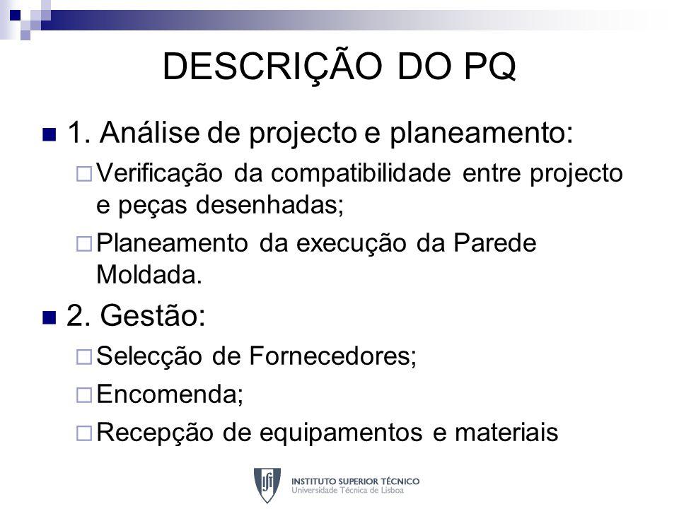 DESCRIÇÃO DO PQ 1. Análise de projecto e planeamento: Verificação da compatibilidade entre projecto e peças desenhadas; Planeamento da execução da Par