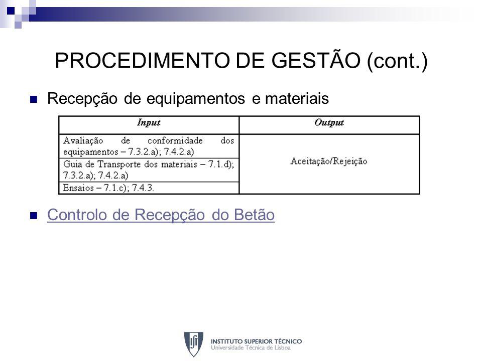 PROCEDIMENTO DE GESTÃO (cont.) Recepção de equipamentos e materiais Controlo de Recepção do Betão