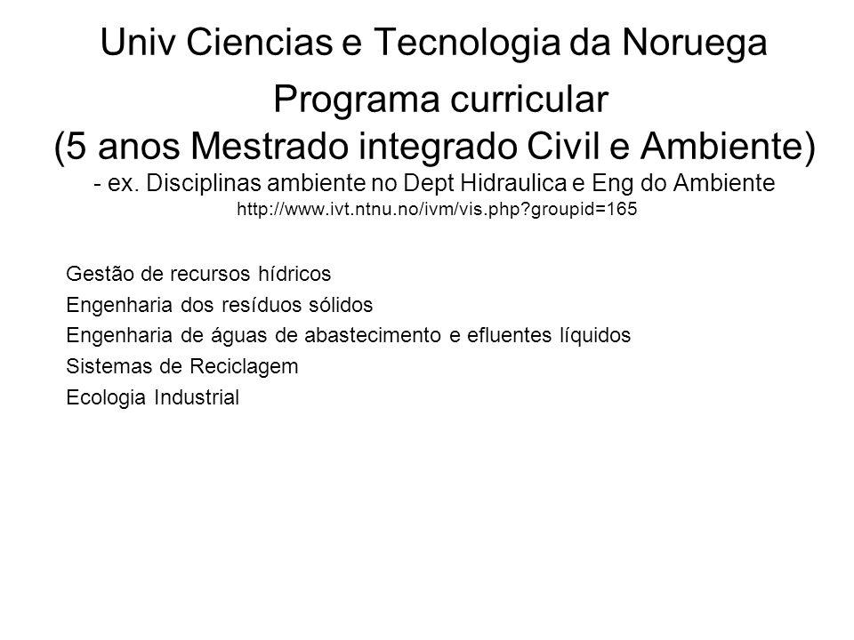 Univ Ciencias e Tecnologia da Noruega Programa curricular (5 anos Mestrado integrado Civil e Ambiente) - ex.