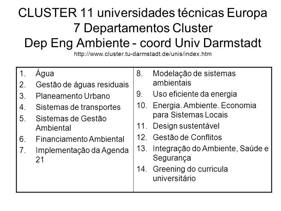 CLUSTER 11 universidades técnicas Europa 7 Departamentos Cluster Dep Eng Ambiente - coord Univ Darmstadt http://www.cluster.tu-darmstadt.de/unis/index.htm 1.Água 2.Gestão de águas residuais 3.Planeamento Urbano 4.Sistemas de transportes 5.Sistemas de Gestão Ambiental 6.Financiamento Ambiental 7.Implementação da Agenda 21 8.Modelação de sistemas ambientais 9.Uso eficiente da energia 10.Energia.