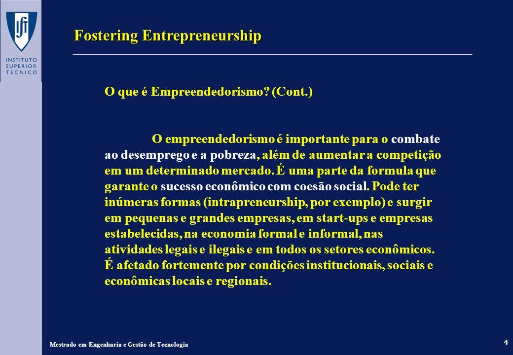 4 Fostering Entrepreneurship Mestrado em Engenharia e Gestão de Tecnologia O que é Empreendedorismo? (Cont.) O empreendedorismo é importante para o co