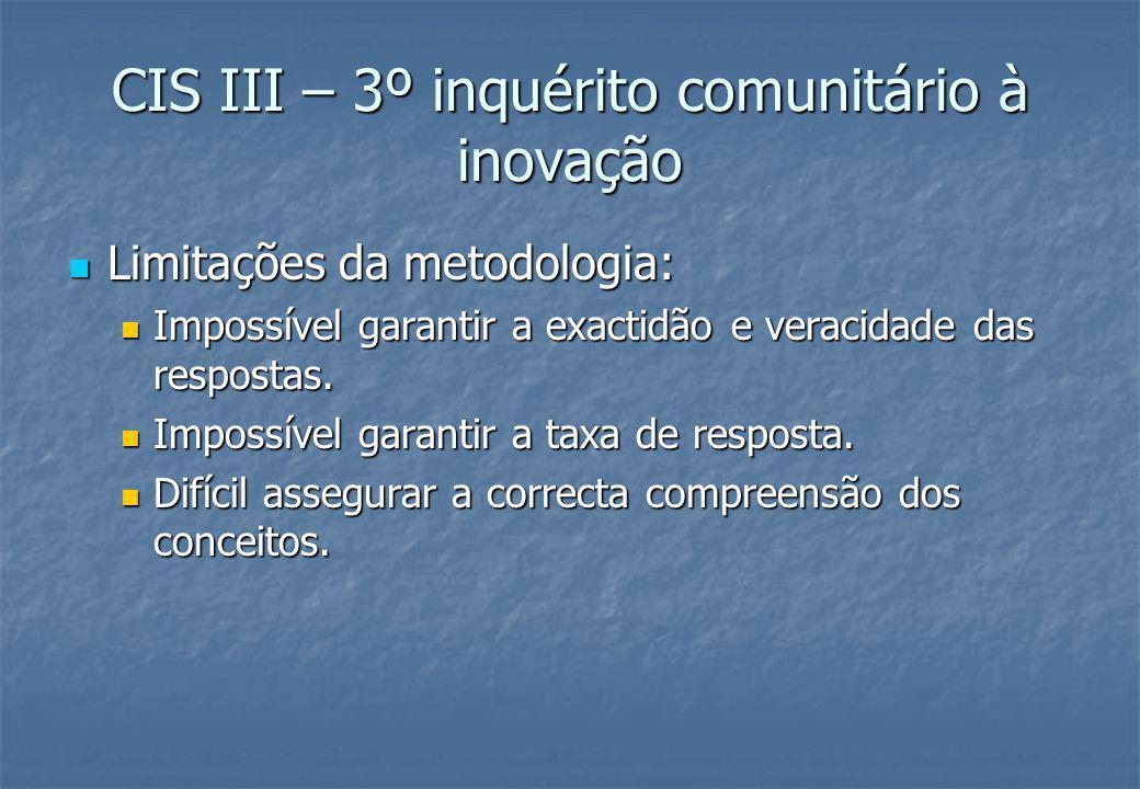CIS III – 3º inquérito comunitário à inovação Pontos positivos: Pontos positivos: A uniformidade do método e do questionário permite a comparação de resultados entre países.