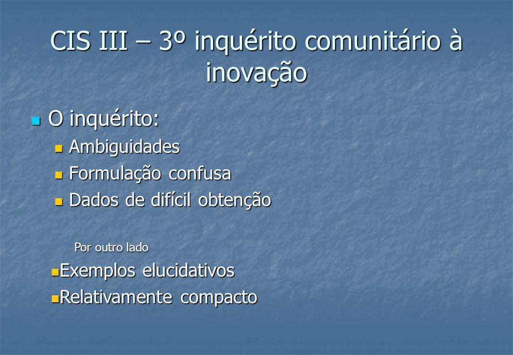 CIS III – 3º inquérito comunitário à inovação O inquérito: O inquérito: Ambiguidades Ambiguidades Formulação confusa Formulação confusa Dados de difícil obtenção Dados de difícil obtenção Por outro lado Exemplos elucidativos Exemplos elucidativos Relativamente compacto Relativamente compacto