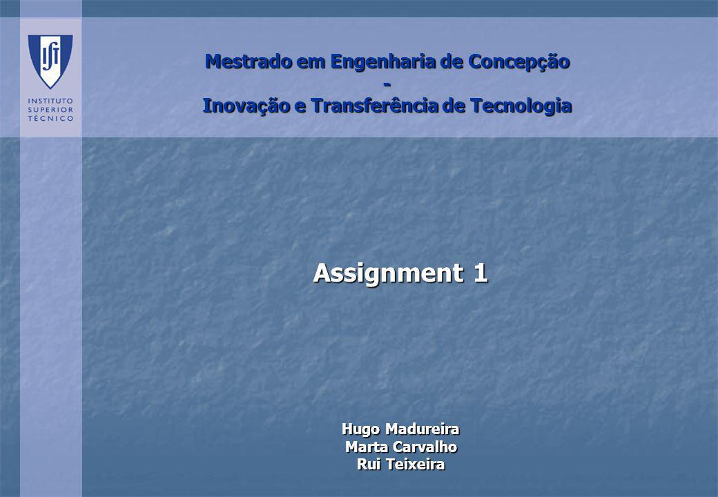 Mestrado em Engenharia de Concep ç ão - Inova ç ão e Transferência de Tecnologia Assignment 1 Hugo Madureira Marta Carvalho Rui Teixeira