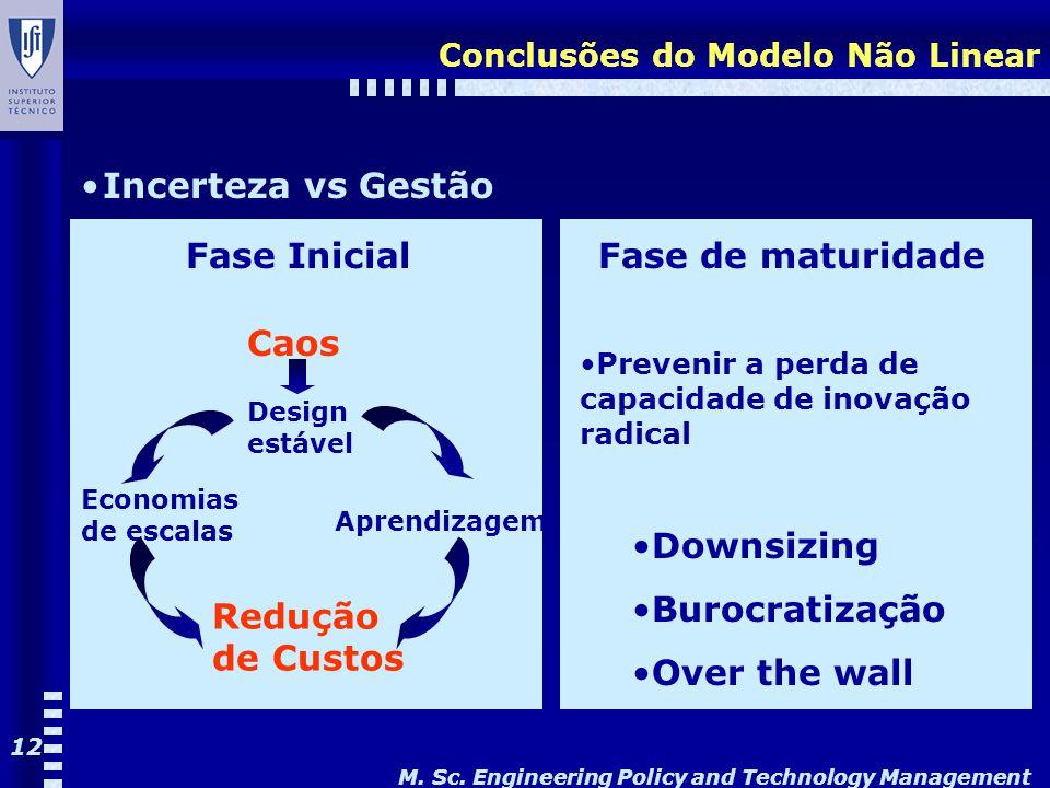 M. Sc. Engineering Policy and Technology Management 12 Conclusões do Modelo Não Linear Incerteza vs Gestão Fase Inicial Caos Economias de escalas Desi