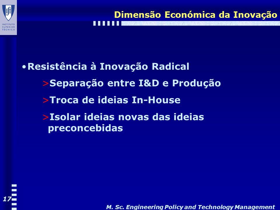 M. Sc. Engineering Policy and Technology Management 17 Dimensão Económica da Inovação Resistência à Inovação Radical >Separação entre I&D e Produção >