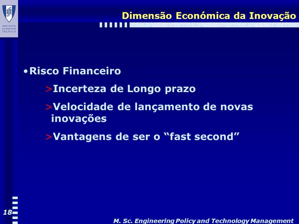 M. Sc. Engineering Policy and Technology Management 18 Dimensão Económica da Inovação Risco Financeiro >Incerteza de Longo prazo >Velocidade de lançam
