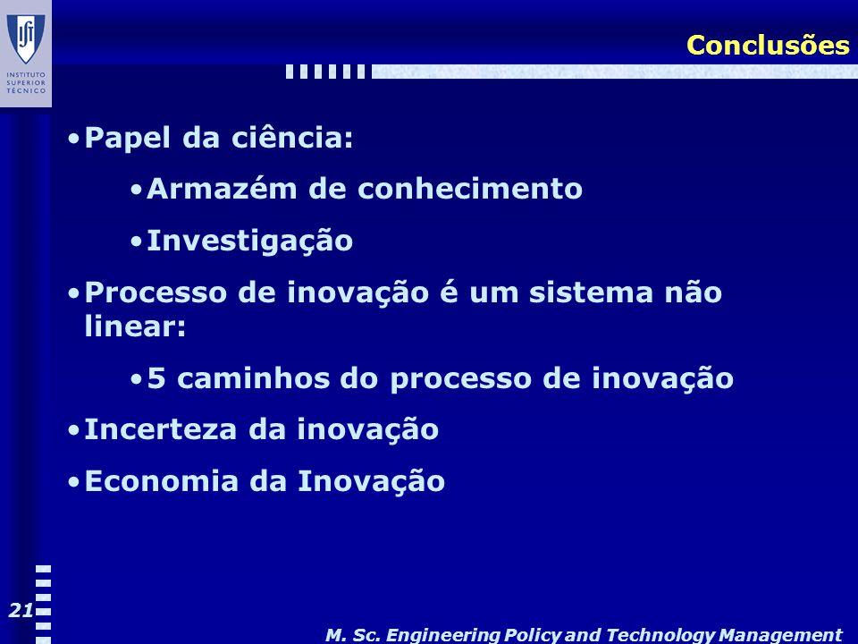M. Sc. Engineering Policy and Technology Management 21 Conclusões Papel da ciência: Armazém de conhecimento Investigação Processo de inovação é um sis