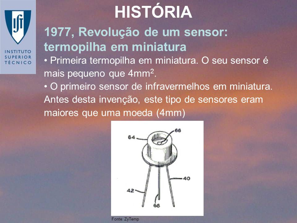 1977, Revolução de um sensor: termopilha em miniatura Primeira termopilha em miniatura. O seu sensor é mais pequeno que 4mm 2. O primeiro sensor de in
