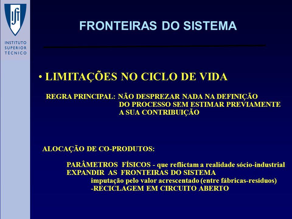 FRONTEIRAS DO SISTEMA LIMITAÇÕES NO CICLO DE VIDA REGRA PRINCIPAL: NÃO DESPREZAR NADA NA DEFINIÇÃO DO PROCESSO SEM ESTIMAR PREVIAMENTE A SUA CONTRIBUI