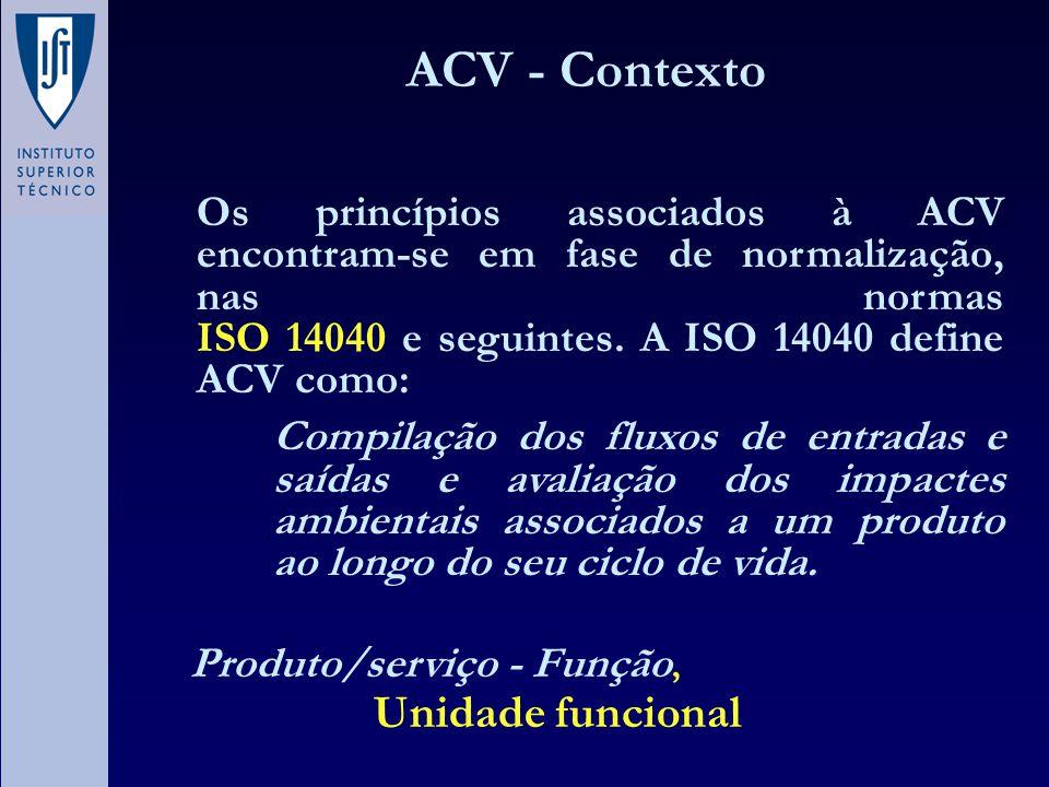 ACV - Contexto Os princípios associados à ACV encontram-se em fase de normalização, nas normas ISO 14040 e seguintes. A ISO 14040 define ACV como: Com