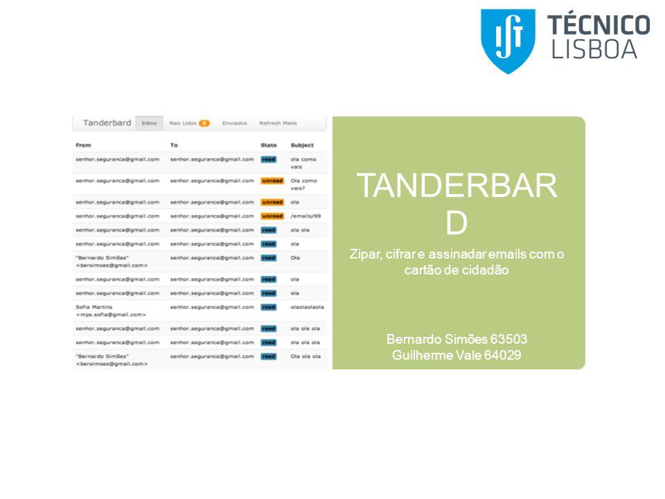 TANDERBAR D Zipar, cifrar e assinadar emails com o cartão de cidadão Bernardo Simões 63503 Guilherme Vale 64029