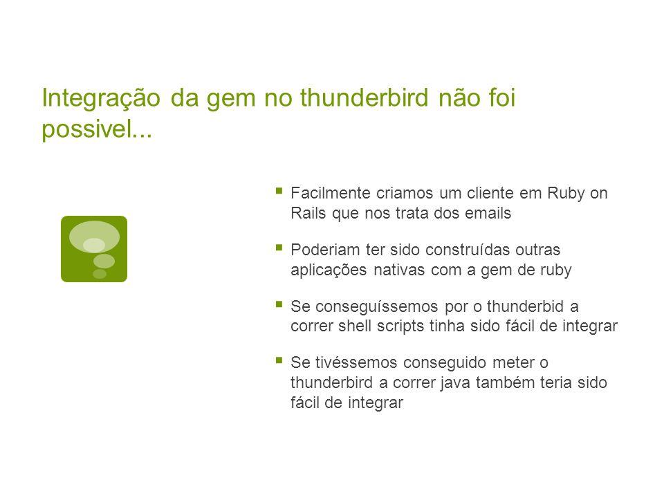 Integração da gem no thunderbird não foi possivel...