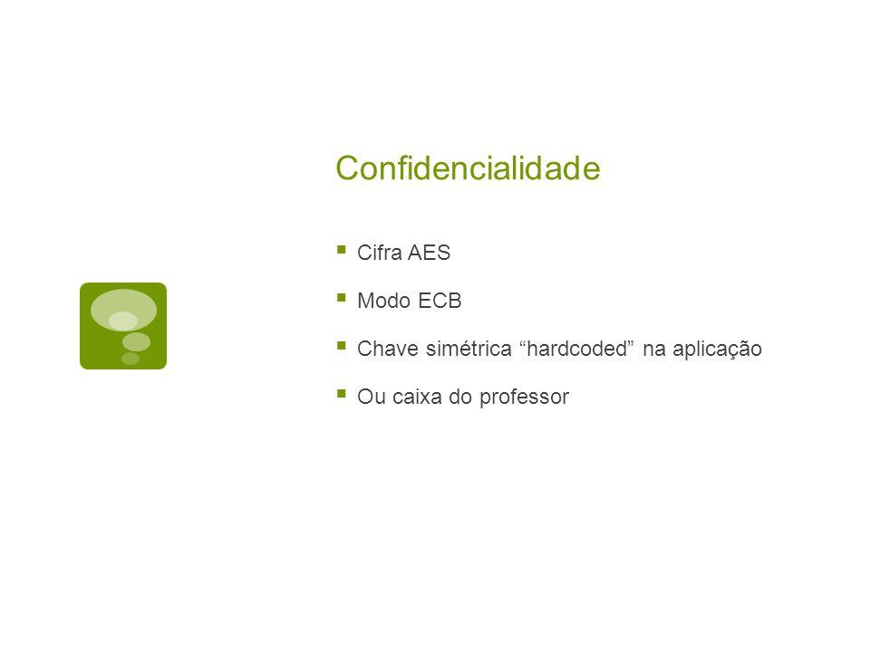 Confidencialidade Cifra AES Modo ECB Chave simétrica hardcoded na aplicação Ou caixa do professor