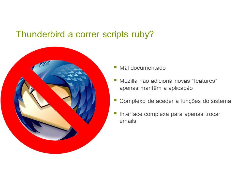 Mal documentado Mozilla não adiciona novas features apenas mantêm a aplicação Complexo de aceder a funções do sistema Interface complexa para apenas trocar emails Thunderbird a correr scripts ruby